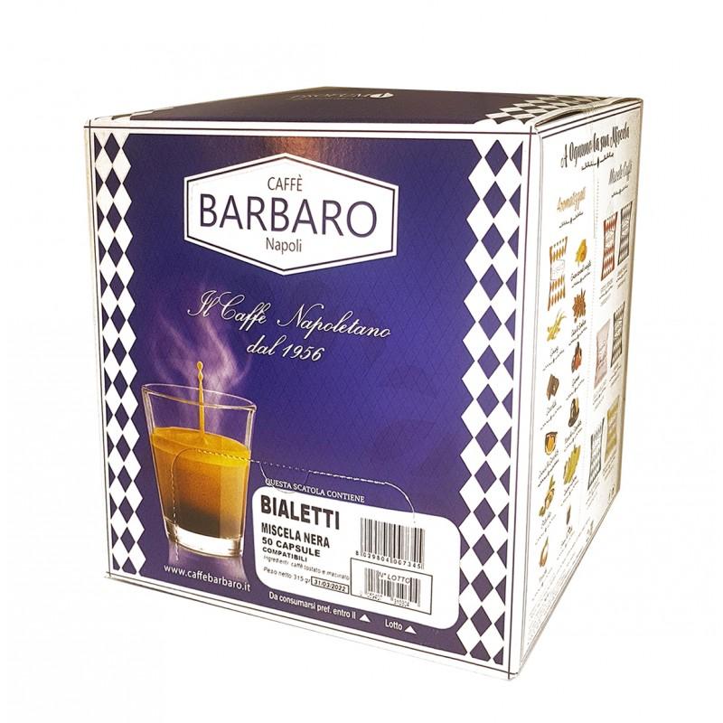50 capsule BARBARO miscela NERA compatibile Bialetti