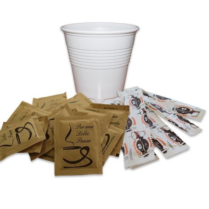 Kit accessori bicchieri zucchero di canna e palette 50 + 50 + 50