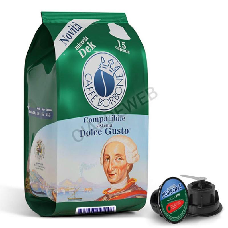 15 capsule caffè BORBONE DEK Compatibile Dolce Gusto