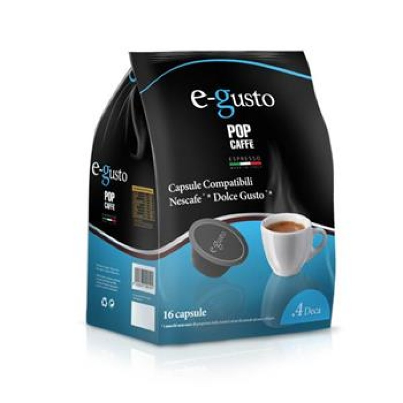 16 capsule Pop Caffè E-GUSTO Miscela 4 DECA compatibile DOLCE GUSTO