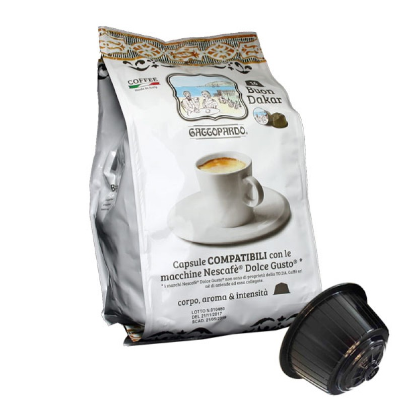 16 capsule caffe' Gattopardo Dakar Compatibile Dolcegusto