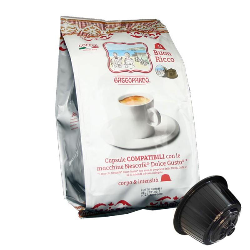 16 capsule caffe' Gattopardo gusto Ricco Compatibile Dolcegusto