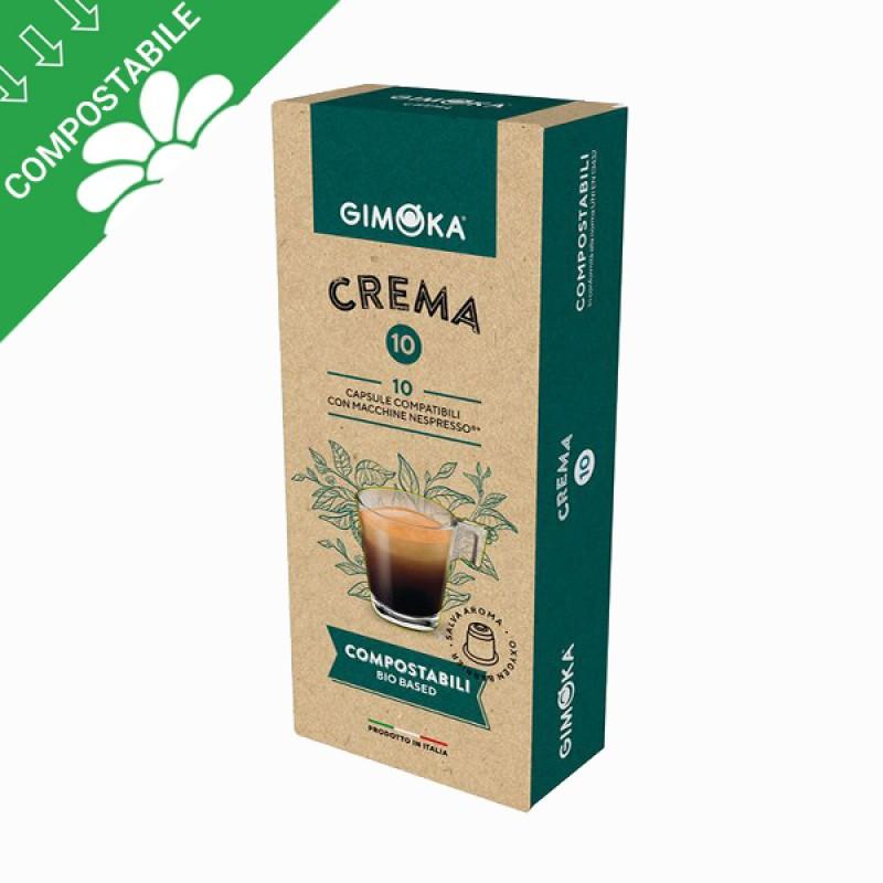 10 capsule Gimoka compostabili CREMA compatibili Nespresso