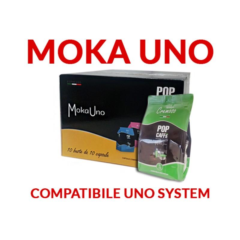 100 capsule Pop Caffè moka uno Miscela 2 Cremoso compatibile Uno System