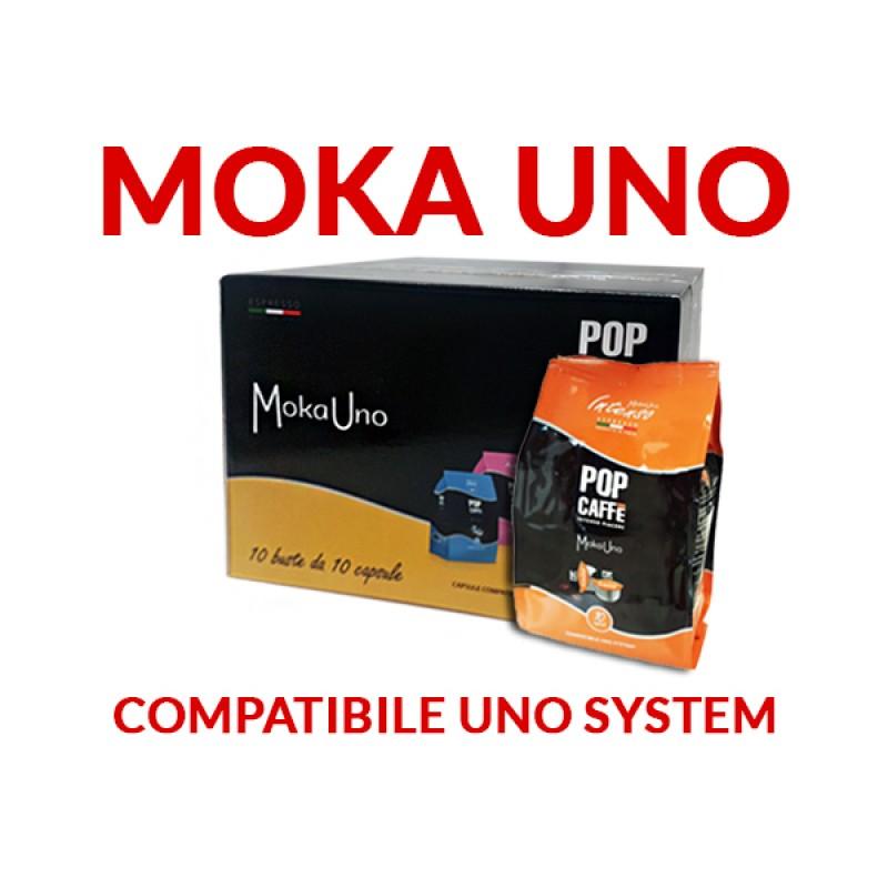 100 capsule Pop Caffè moka uno Miscela 1 Intenso compatibile Uno System