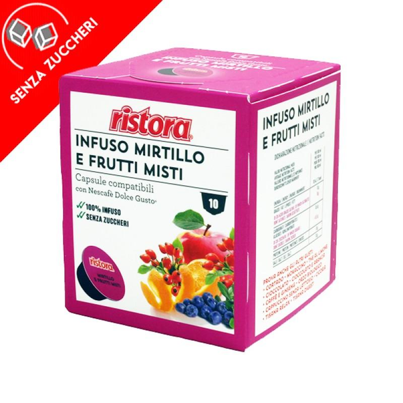 10 capsule Infuso mirtillo e frutti misti Ristora compatibile Dolce Gusto