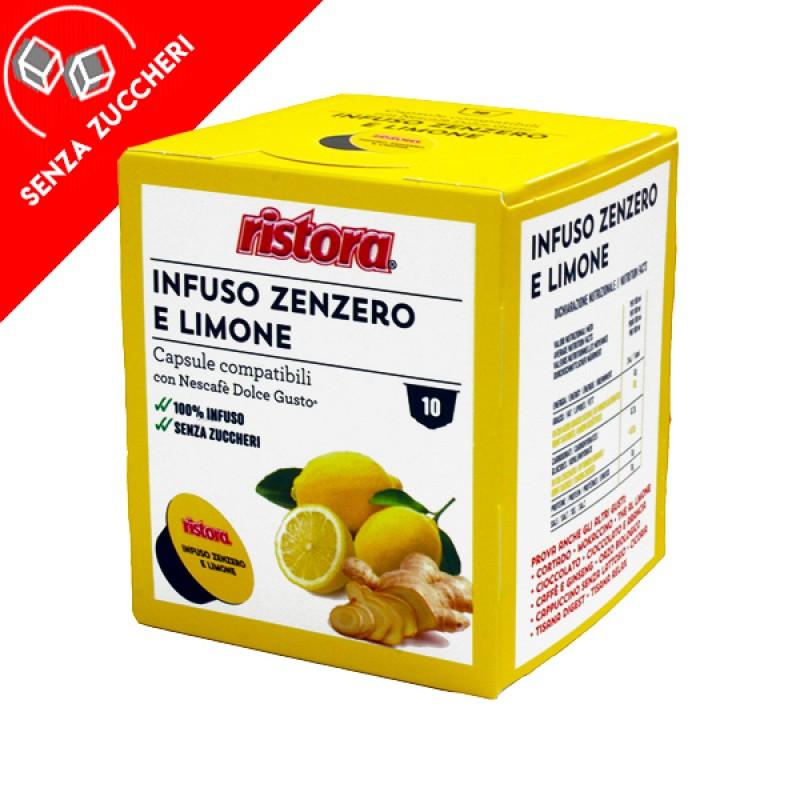 10 capsule Infuso zenzero e limone solubile Ristora compatibile Dolce Gusto