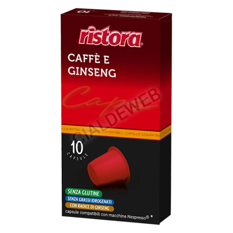 10 capsule Caffè Ginseng RISTORA compatibile Nespresso
