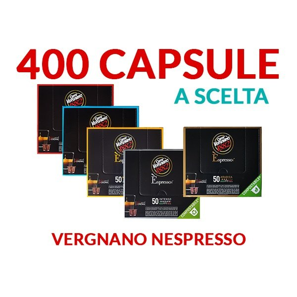 400 capsule SCELTA caffè VERGNANO Compatibile Nespresso COMPOSTABILE