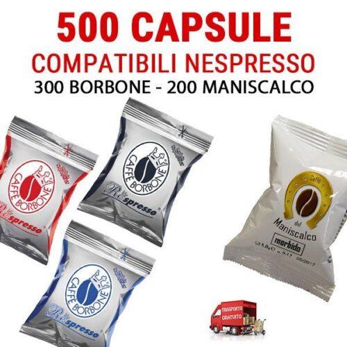 500 Capsule compatibili Nespresso Borbone e Maniscalco 89 euro