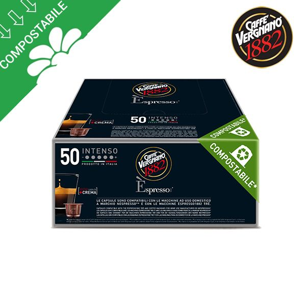 50 capsule compostabili Vergnano INTENSO per Nespresso