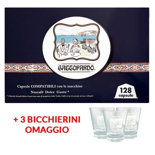 Promo 128 capsule gattopardo compatibili dolcegusto 3 bicchierini omaggio